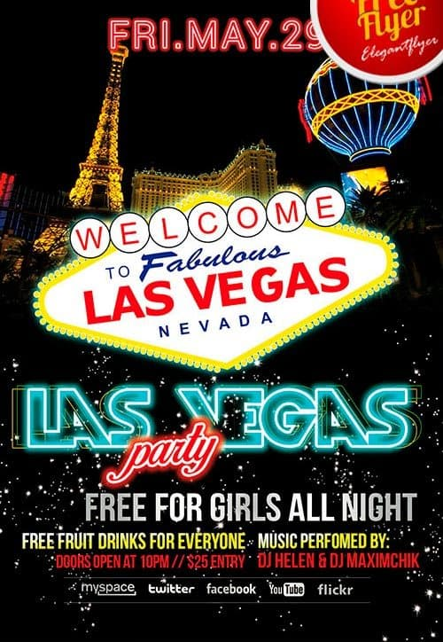 Download Free Las Vegas Party PSD Flyer Template