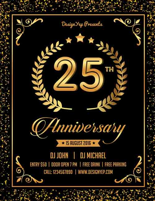 Free Anniversary Party Flyer PSD Template Download For