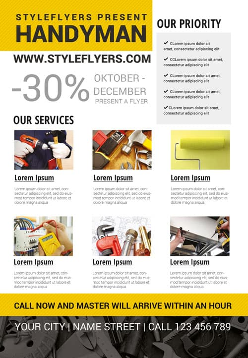 Handyman Business Free Flyer Template Download For Photoshop