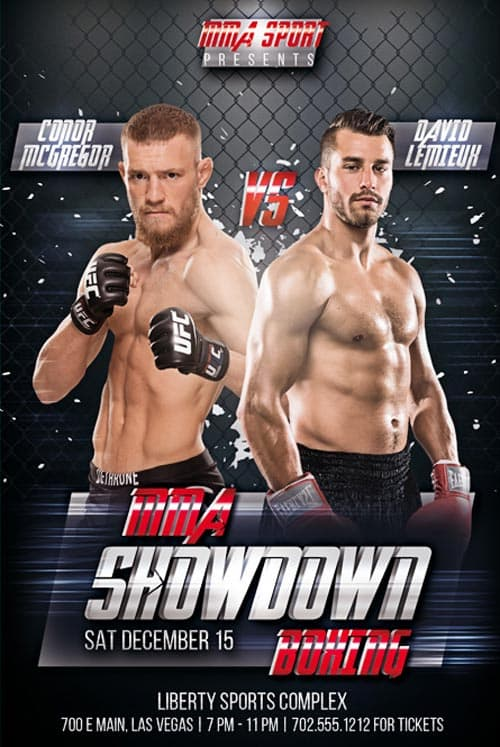 MMA Showdown Boxing Free PSD Flyer Template  Download PSD