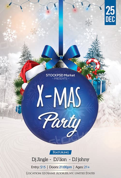 Blue Christmas Party Free Flyer Template Download For