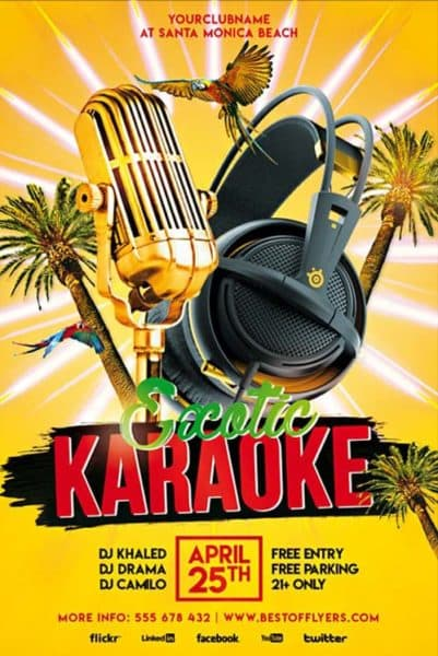 Exotic Karaoke Party Free Flyer Template Download
