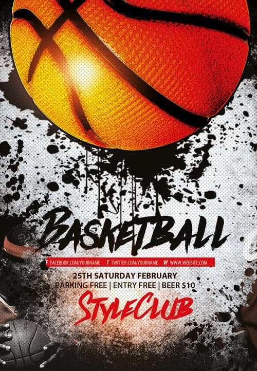 Basketball Free Sport Flyer Template Download Flyer