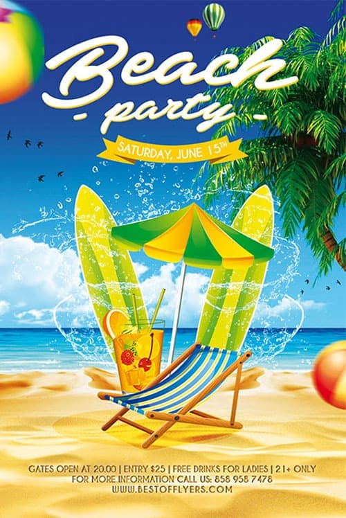 Free Beach Party Poster Template Download Freebies Now