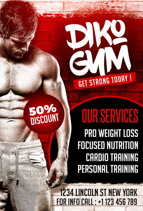 Free Gym PSD Flyer Template Download Free Sports And Gym
