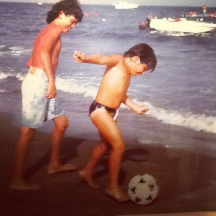 Diego Sinagra playing football with his childhood friend Giuseppe Falcao