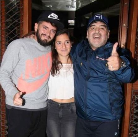 Diego Sinagra with his half-sister Jana Maradona and his father Diego Maradona