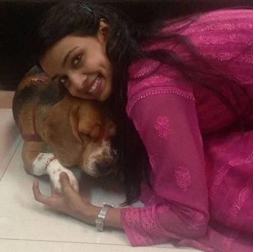 Mayuri Deshmukh with her Pet Dog