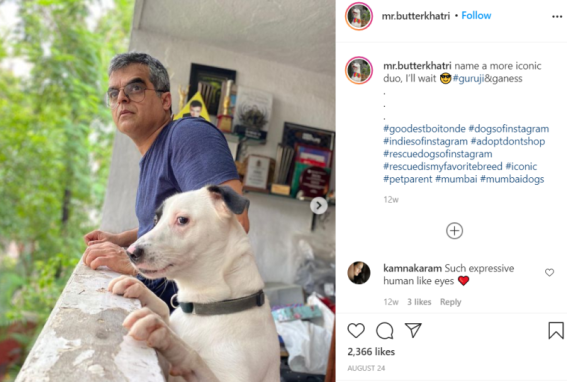 Atul Khatri with his dog Butter
