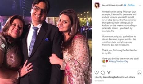 Deepshikha's Instagram post on teachers day for her parents