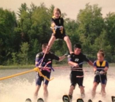 Rachel Brosnahan Snowboarding with her Friends