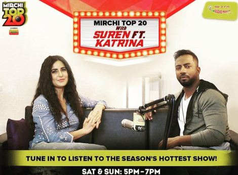 Suren Sundaram with Katrina Kaif on his Radio Mirchi show