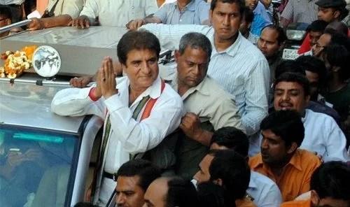 Raj Babbar in a political rally