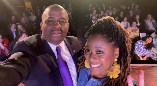 Phoebe Robinson with her brother