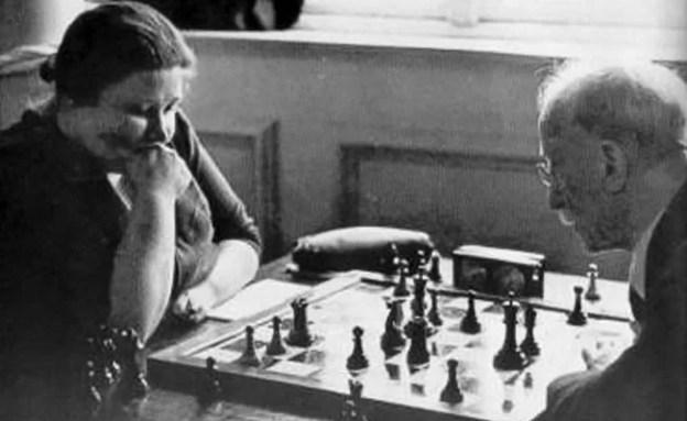 Vera Menchik playing chess