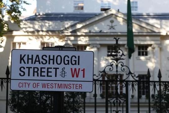 Khashoggi Street put up by Amnesty International