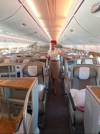 Hanan El-Atr as a flight attendant