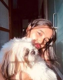Samruddhi Jadhav and her pet dog