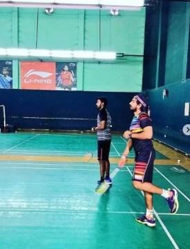 Vishnu Vishal playing Celebrity Badminton League