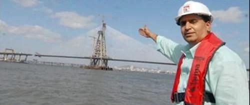 Anil Deshmukh posing in front of the Bandra Worli Sea Link