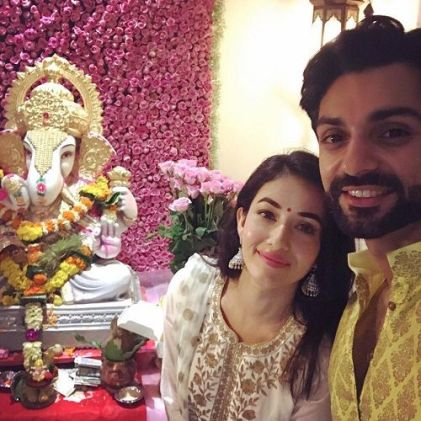 Aditi Budhathoki and Karan Wahi with Lord Ganesha's idol