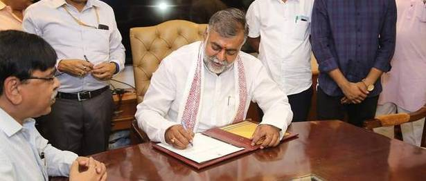 Prahlad Patel taking charge as the Union Minister of Tourism