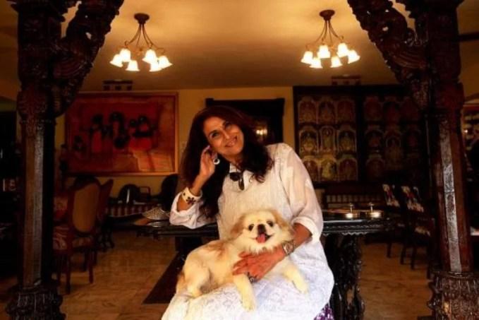 Shobhaa De with her pet dog