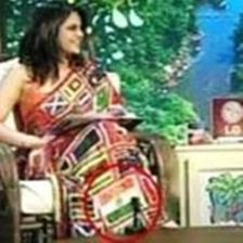 Mandira Bedi while wearing a flag saree in the final of ICC Cricket 2007