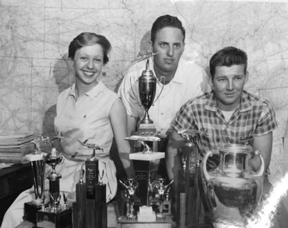 Wally Funk and two other members of the Flying Aggies with their silverware in 1959