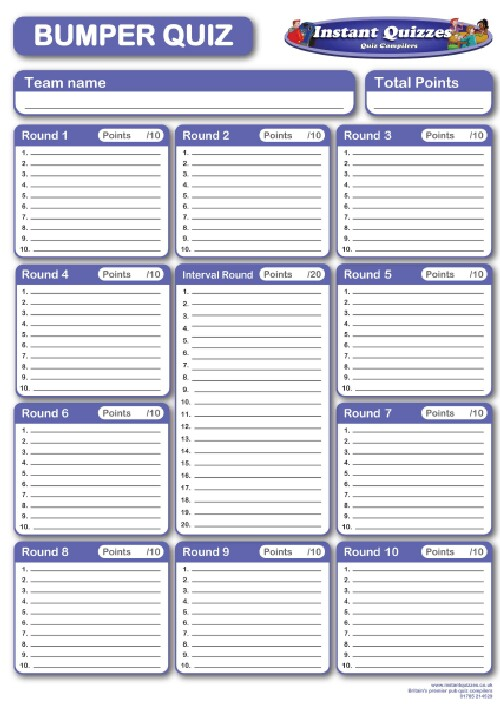 Free Quiz Answer Sheets Template