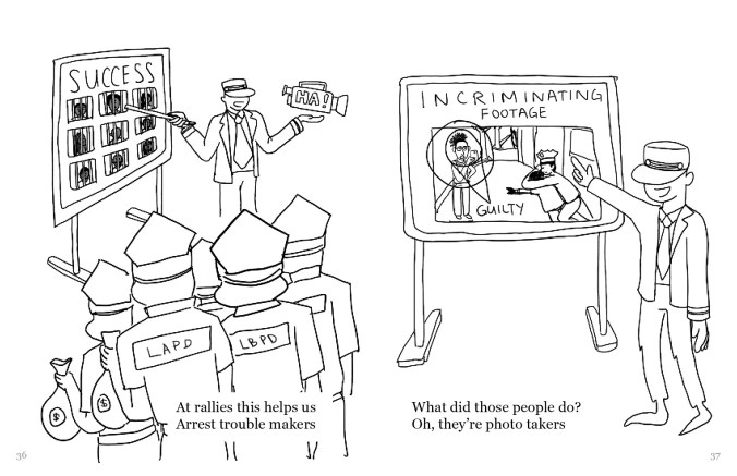 "A drawing split into two frames. In the left frame there is an operator figure pointing to a board labeled ""SUCCESS"" with photos of people behind bars. The operator is holding a video camera that says, ""HA!"" A group of figures, holding money bags and facing away, have ""LAPD"" on the backs of their shirts. On the right is a board labeled ""Incriminating footage"" with a diagram of a person marked ""guilty"". The operator figure is pointing to the board. On the left, the text reads, ""At allies this helps us Arrest trouble makers"" and on the right it reads, ""What did those people do"" Oh, they're photo takers"""