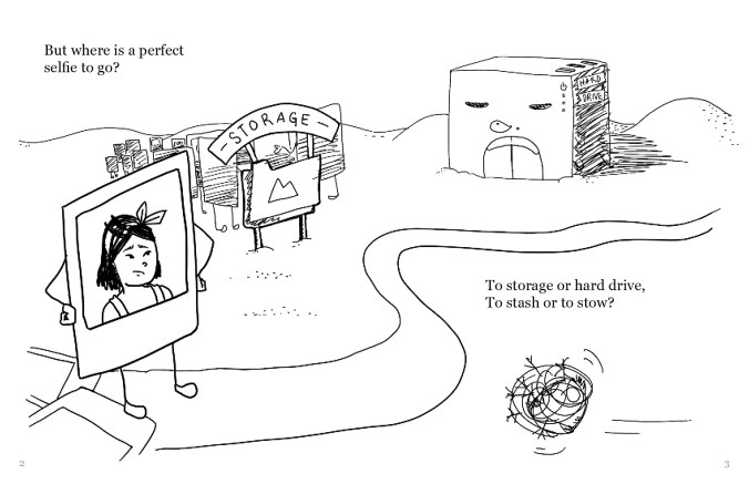 "A drawing with the selfie of the person with shoulder-length black hair on the left, standing on a path that winds around to the right side of the screen. To the left of the path a little further up is a file folder marked ""storage"", with a group of other selfies behind it. Next to it on the right is a building marked ""hard drive"". There is a tumbleweed passing through on the bottom of the picture. The text reads, ""But where is a perfect selfie to go? To storage or hard drive, To stash or to stow?"""