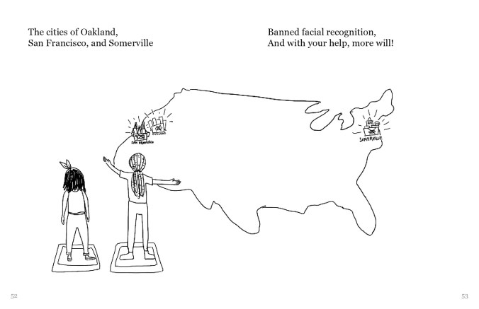 """The person with long lighter hair shows the main character person with shoulder-length black hair a zoomed out view of the United States, with San Francisco, Oakland, and Somerville highlighted. The text reads, """"The cities of Oakland, San Francisco, and Somerville Banned facial recognition, And with your help, more will!"""""""