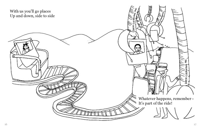 """A drawing of the same Polaroid selfie with arms and legs in a rollercoaster cart. The cart on a rollercoaster track, that looks like a conveyor belt. The track leads to the right, where giant claws are picking up other selfies out of their carts. The operator is standing next to a currently inactive claw that is labeled """"Data Cleaning inc."""" The text reads, """"With us you'll go places Up and down, side to side Whatever happens, remember - It's part of the ride!"""""""