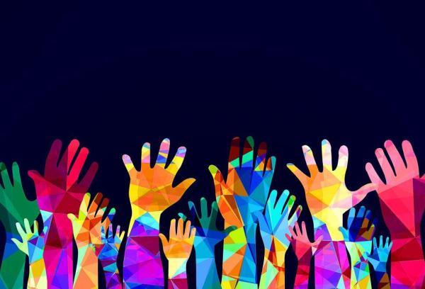 Get Free Stock Photos of Colorful hands up happiness or