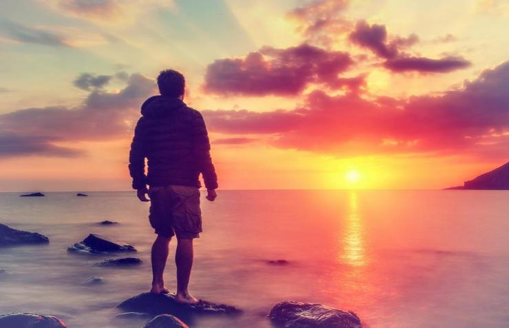 Free Stock Photo of Young Man Watching the Sunrise at Rocky Beach Online |  Download Latest Free Images and Free Illustrations