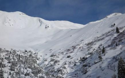 ...das Gelände Skiers-right ab dem kl. Pfuitjöchl.