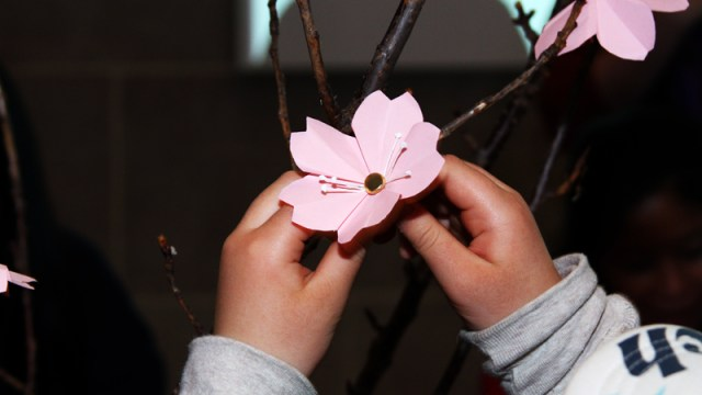 Making cherry blossom origami in the Sackler; photo by Hutomo Wicaksono