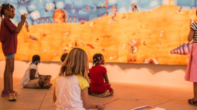 Children in the exhibition Perspectives: Lara Baladi