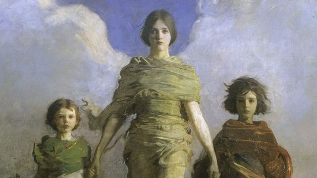 """detail from the painting """"A Virgin"""" - a woman with clouds behind her to suggest wings walks with two children"""