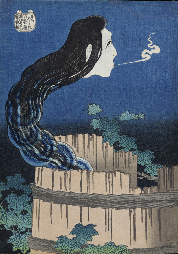 Ghost with woman's head and serpentine neck made up of a stack of dishes represents the ghost of Okiku - rising out of well.