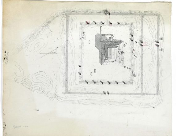The Tomb of Cyrus the Great at Pasargadae in 1928; Drawing by Herzfeld in the Freer|Sackler Archives