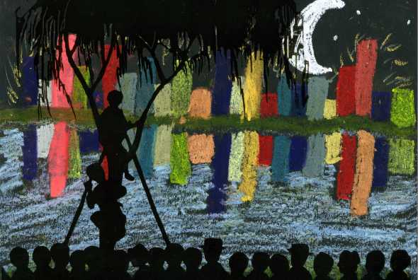 Ariana, age 11, created a beautiful night scene inspired by the art of Kiyochika.