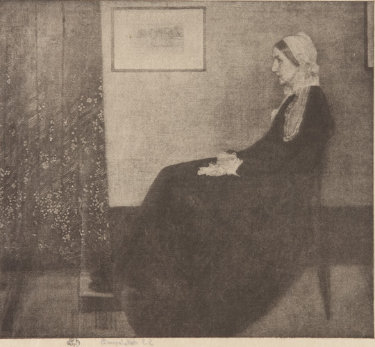 "Photomechanical reproduction in halftone, after Whistler's portrait of his mother, ""Arrangement in Grey and Black No. I"""