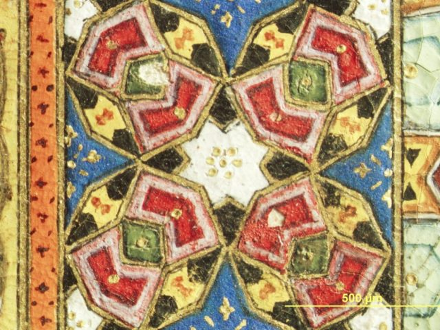 A detail from a Haft Awrang painting featuring the colorful geometric patterns