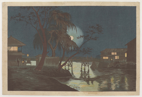 Teahouse at Imadobashi by Moonlight by Kobayashi Kiyochika, ca. 1997; Robert O. Muller Collection
