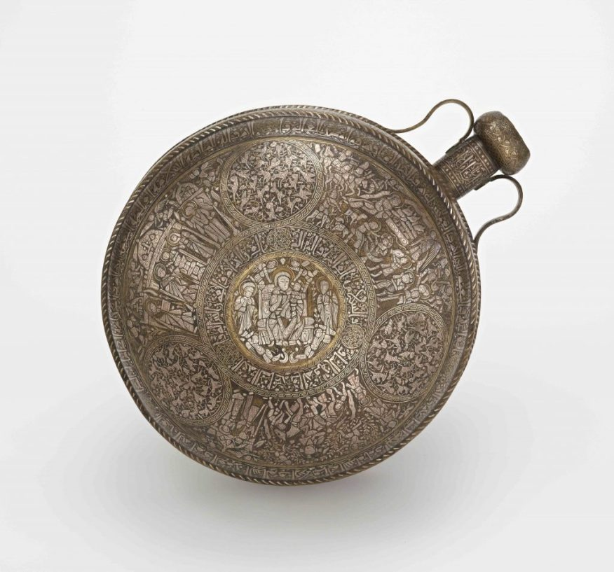 Canteen; Syria or Northern Iraq; Ayyubid period (1171–1250); brass, silver inlay; Purchase, F1941.10