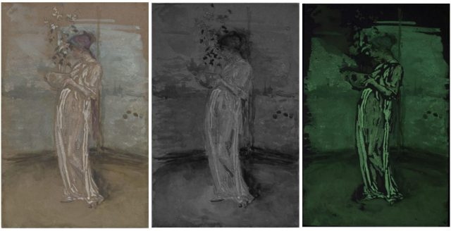 Blue and Gold: The Rose Azalea; James McNeill Whistler (1834–1903); United States, ca. 1890–95; watercolor on brown paper; Gift of Charles Lang Freer, F1894.25. Left to right: visible light; reflected infrared (IR); ultraviolet-induced visible fluorescence (UV). The yellow-green fluorescence in the UV image indicates the presence of zinc oxide (zinc white).