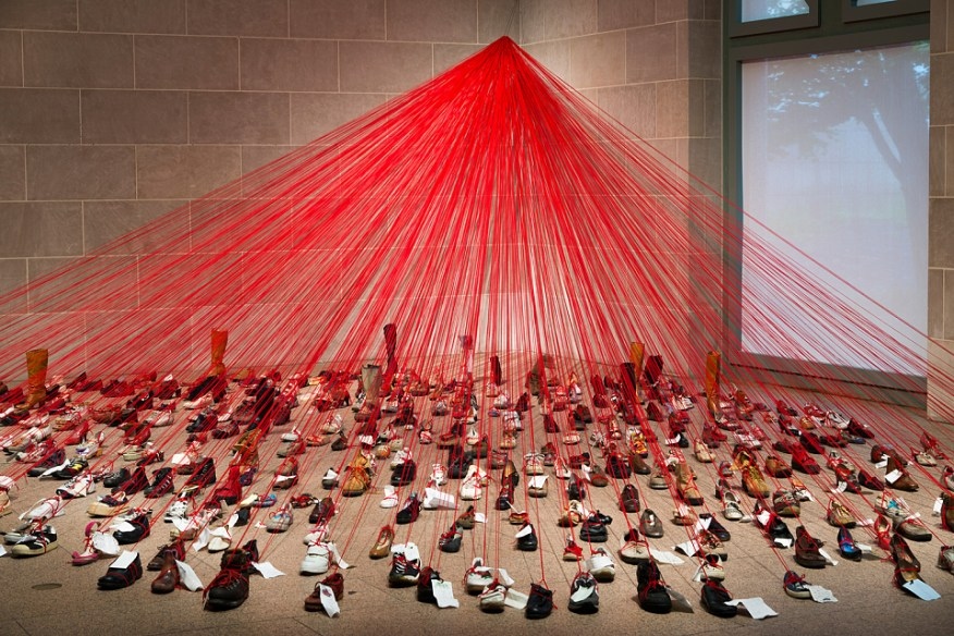 """Installation view of """"Over the Continents"""" by Chiharu Shiota"""