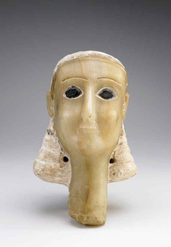 "Head of a Woman (known as ""Miriam""); Yemen, Wadi Bayhan, 1st century BCE-mid-1st century CE: Alabaster, Stucco, and Bitumen; Gift of the American Foundation for the Study of Man (Wendell and Merilyn Phillips Collection); S2013.2.139"